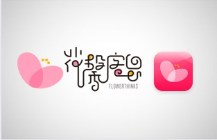 花馨客思标志及app图标设计